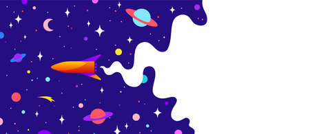 Universe. Motivation banner with universe cloud, dark cosmos, planet, stars and rocket spaceship. Banner template with universe starry dark night dream background. Vector Illustration