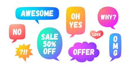 Speech bubble. Set of chat message, cloud talk, speech bubble. Color speech bubble, cloud talk isolated silhouette with text. Elements for chat message, social network, web. Vector Illustration