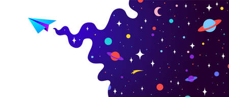 Universe. Motivation banner with universe cloud, dark cosmos, planet, stars and paper plane, start up symbol. Banner template with universe starry night dream background. Vector Illustration