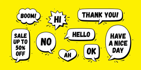 Speech bubble. Set of chat message, cloud talk, speech bubble. White speech bubble, cloud talk isolated silhouette with text. Elements for chat message, social network, web. Vector Illustration