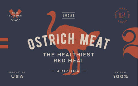 Ostrich. Template Label. Vintage retro print, tag, label with ostrich drawing, engraved old school style. Poster for Butchery meat shop with text, typography, ostrich silhouette. Vector Illustration