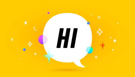 Hi. Banner, speech bubble, poster and sticker concept, geometric memphis style with text Hi. Icon balloon with quote message hi or hello for banner, poster. Vector Illustration 向量圖像