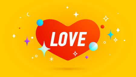 Love. Banner, speech bubble, poster and sticker concept, geometric memphis style with text Love. Icon balloon with quote message love for banner, poster. Vector Illustration 向量圖像