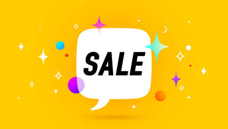 Sale. Banner, speech bubble, poster and sticker concept, geometric memphis style with text Sale. Icon balloon with quote message sale for banner, poster. Vector Illustration 向量圖像