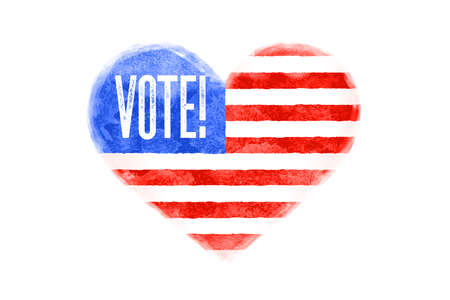 Vote, USA. Poster of heart shape, text Vote, United State of America flag. Vote, red and blue isolated heart symbol on white background. Watercolor heart with American flag. Vector Illustration