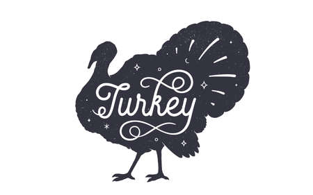 Turkey. Vintage retro print, black white turkey drawing, grunge old school style. Isolated black silhouette turkey, hand lettering on white background. Side view profile. Vector Illustration 向量圖像