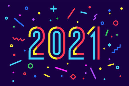2021, Happy New Year. Greeting card with inscription Happy New Year 2021. Memphis geometric bright style for Happy New Year or Merry Christmas. Holiday background, banner, poster. Vector Illustration
