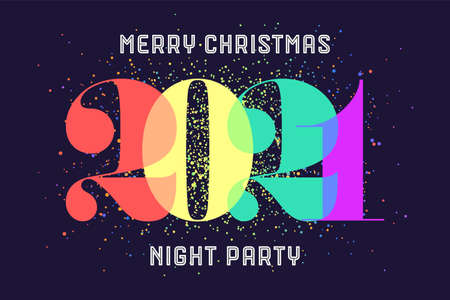 Merry Christmas. Greeting card with colorful rainbow text Merry Christmas 2021, Night Party for Christmas Holiday. Poster, banner, flyer for homosexual, gay pride and LGBT concept. Vector Illustration