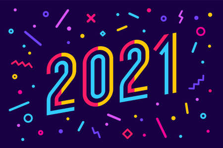 2021. Greeting card with inscription 2021. Geometric bright style for 2021. Holiday background, poster. Vector Illustration