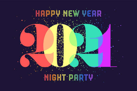 Happy New Year. Greeting card with colorful rainbow text Happy New Year 2021, Night Party for Happy New Year Holiday. Poster, banner for homosexual, gay pride and LGBT concept. Vector Illustration 向量圖像