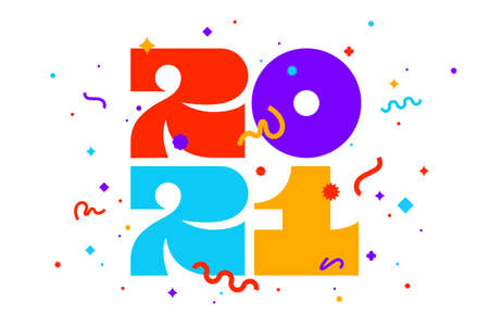 2021, Happy New Year. Greeting card with inscription Happy New Year 2021. Geometric bright style for Happy New Year or Merry Christmas. Holiday background, banner, poster. Vector Illustration