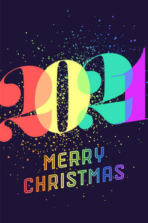 Merry Christmas. Greeting card with colorful rainbow text Merry Christmas 2021 for Christmas Holiday. Poster, banner, flyer for homosexual, gay pride and LGBT pride concept. Vector Illustration