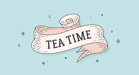 Tea Time. Vintage ribbon with text tea time. Black white vintage banner with ribbon, graphic design. Text tea time for cafe, bar, restaurant, food menu. Vector Illustration