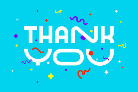 Thank you. Banner, poster and sticker concept, geometric style with text Thank you. Greeting card message thank you for banner, poster. Explosion colorful burst design. Vector Illustration 向量圖像