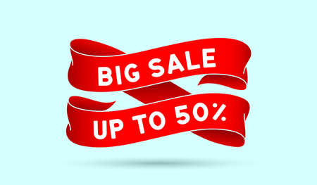 Big Sale Up to 50 percent. Red vintage ribbon with text Big Sale Up to 50 percent. Red vintage banner with ribbon, graphic design. Old school element for final sale, discount. Vector Illustration 版權商用圖片 - 160682888