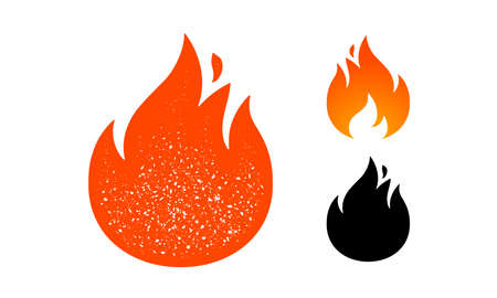 Fire, flame. Red flame in abstract style on white background. Flat fire collection set. Modern art isolated graphic. Fire sign. Vector Illustration Ilustrace