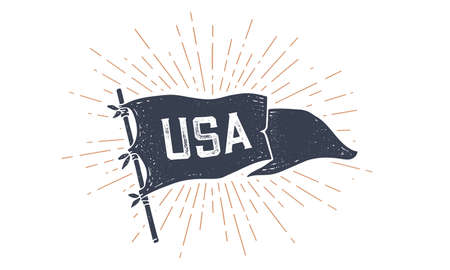 USA. Flag grahpic. Old vintage trendy flag with text USA for United States of America. Old school vintage banner, retro style, sunburst line graphic, United States or US flag. Vector Illustration Ilustrace