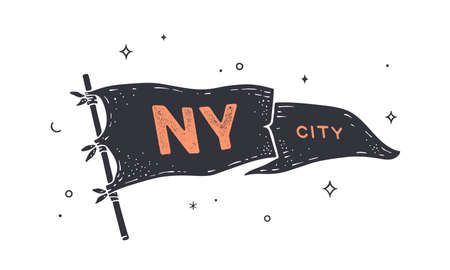 NY City. Flag grahpic. Old vintage trendy flag with text NY City for New York, USA. Old school vintage banner flag, retro style, United States city New York. Vector Illustration