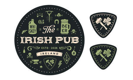 Coaster. Circle coaster, text Irish Pub, Beer, Whiskey. Vintage drawing for bar, pub, beer and whiskey themes. Black circle coaster for placing a beer mug or whiskey glass. Vector Illustration