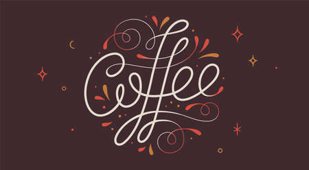 Coffee. Hand-drawn lettering text Coffee on dark background. Vintage drawing lettering, typography, calligraphy. Print for coffee and drink menu, cafe, restaurant. Vector Illustration
