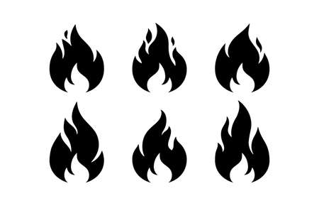 Fire, flame. Black white flame collection set