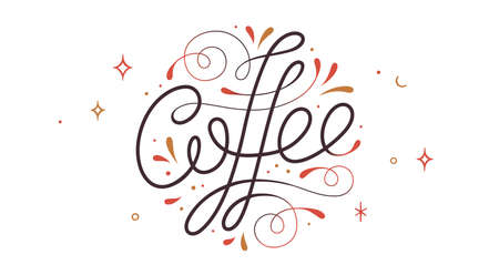 Coffee. Hand drawn lettering text Coffee, logo Ilustrace