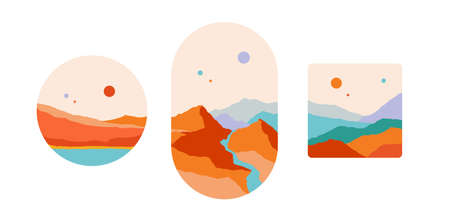 Mountain. Abstract landscape art print, minimalist style