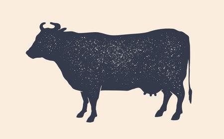 Cow silhouette. Vintage retro print cow silhouette