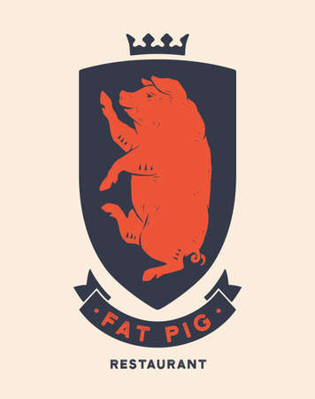 Pork, pig. Template Label. Vintage retro print, tag, label with king pig drawing, old school style. Poster with text Steak House, Beer, Pork, typography, king pig silhouette. Vector Illustration 向量圖像
