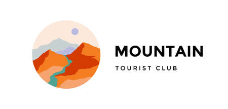 Mountain, tourist club.  abstract landscape mountain, sky and sunset view. Minimalist style landscape view, mountain, hill and sun. Abstract style. Vector Illustration