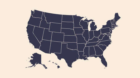 USA. Poster map of United States of America. Black and white print map of USA for t-shirt, poster or geographic theme. Hand-drawn black map. Vector Illustration