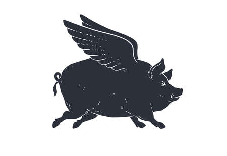 Angel piggy, pig with wings. Vintage retro print, black white fly pig drawing with wings, grunge old school style. Isolated black silhouette angel pig on white background. Vector Illustration