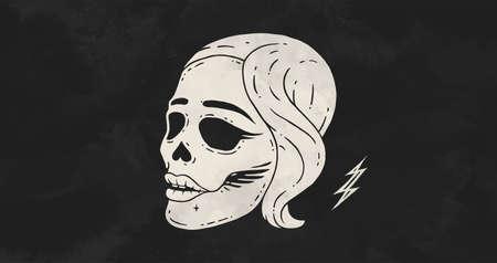 Skull girl. Poster of vintage skull woman, hipster label, portrait girl. Retro old school illustration for t-shirt print, tattoo, fashion theme. Vector Illustration