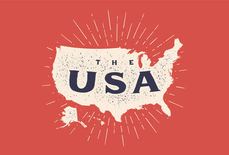 USA. Poster map of United States of America. Print map of USA for t-shirt, poster. Hand-drawn map in style with linear drawing light rays, sunburst and rays of sun. Vector Illustration 向量圖像