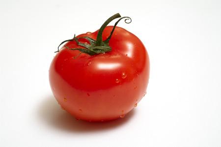 Single juicy tomato with peduncle isolatel on white background