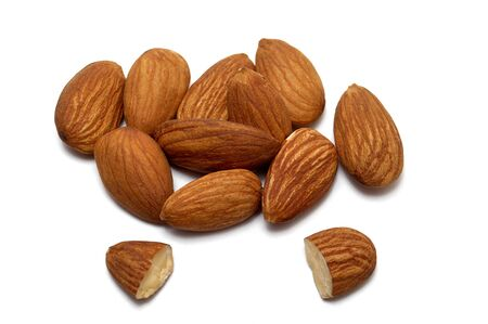 Peeled young almonds on a white background, isolate, nut antioxidant
