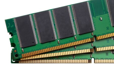 Mandom access memory (RAM) modules for computer. Isolated on white. Technical, electronic and IT concept