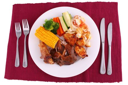 Roast dinner full setting Stock Photo