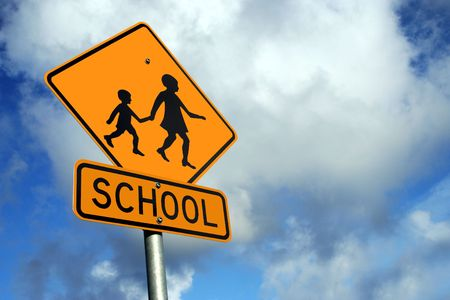 street corner: Watch out for Children Stock Photo