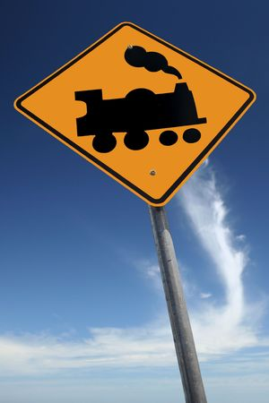 kilometres: Watch out for trains Stock Photo
