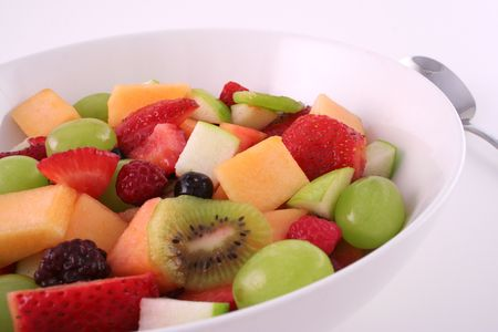 Bowl of fruit and spoon up close