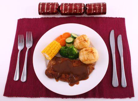 Christmas steak dinner photo