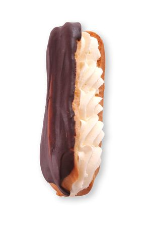 Isolated chocolate eclair