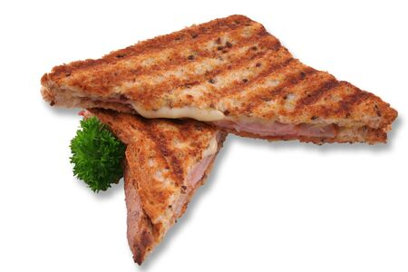 multi grain sandwich: Isolated toasted ham and cheese Stock Photo