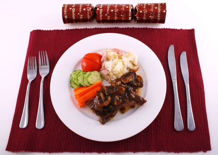 Christmas steak setting Stock Photo