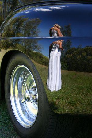 Wedding Reflection in Car