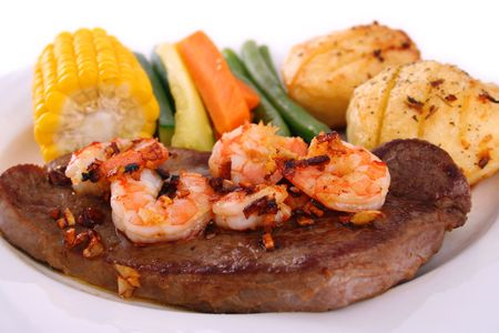 Steak and seafood photo