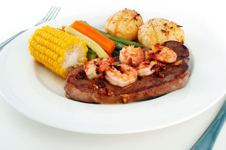 Surf n Turf meal setting photo