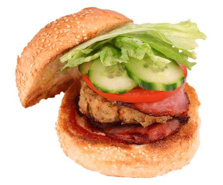 hamburguesa de pollo: Hamburguesa del pollo con la trayectoria del truncamiento