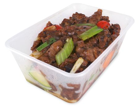 take out: Beef and black bean take out with clipping path